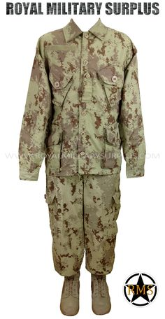 Combat Uniform - CF Converged Design - CADPAT (Arid Regions) - 134,95$ (CAD) - CADPAT AR (Disruptive Camouflage Digital Pattern) Canada Armed Forces Desert Camouflage – 4 Colors Made following Military Specifications 50% Polyester / 50% Cotton. Visit our Website at www.royalmilitarysurplus.com