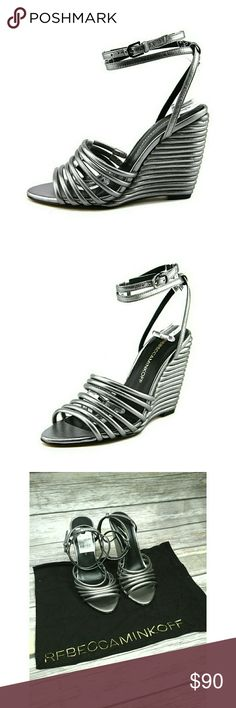"""Rebecca Minkoff Open Toe Wedges Sandals DETAILS  Rebecca Minkoff The Style Name Is Savannah Color: Gunmetal Metallic Material: Nappa Upper And Smooth Leather Outsole Measurement: 4.25"""" Heel Leather No box included. Rebecca Minkoff Shoes Wedges"""