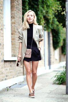Shop this look for $214:  http://lookastic.com/women/looks/turtleneck-and-blazer-and-crossbody-bag-and-shorts-and-slip-on-sneakers/3361  — Black Turtleneck  — Grey Plaid Blazer  — Tan Leopard Leather Crossbody Bag  — Black Shorts  — Tan Leopard Suede Slip-on Sneakers