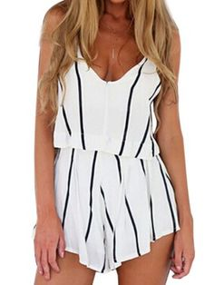 Shop White Stripe Fake Two-piece Spaghetti Strap Romper Playsuit from choies.com .Free shipping Worldwide.$19.9
