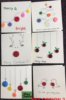 Button Christmas Cards, Diy Holiday Cards, Christmas Buttons, Christmas Card Crafts, Homemade Christmas Cards, Christmas Greeting Cards, Christmas Greetings, Kids Christmas, Christmas Cards Handmade Kids