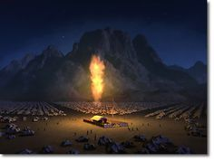 Domnul insoteste in pustiu pe Israel ziua intr-un nor iar noaptea intr-flacara de foc.The LORD guided them with a pillar of cloud by day and a pillar of fire by night. Religious Pictures, Bible Pictures, Religious Art, Pillar Of Fire, Feasts Of The Lord, Feast Of Tabernacles, Bible Illustrations, The Tabernacle, Prophetic Art