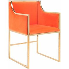 Worlds Away Anabelle Orange with Brass Chair (£870) ❤ liked on Polyvore featuring home, furniture, chairs, accent chairs, worlds away furniture, orange chair, orange furniture, brass chair and brass furniture