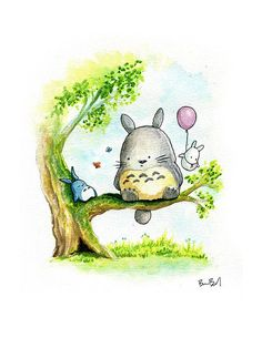 Inspired by My Neighbor Totoro. One of my favorite movies of all time. Totoro and his friends relax in a tree. Printed on the same watercolor