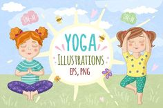 Cute girls in yoga poses. Vector by natamastery on @creativemarket