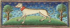 Museum Meermanno, MMW, 10 B 25, Folio 15v A dog with an elegant red collar.
