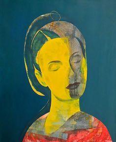 art moderne essam marouf (égyptien né en I958) art contemporain figuratif, palette sombre couleur, jaune et rouge