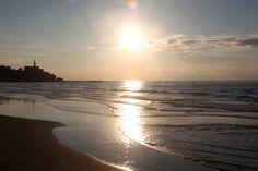 Mediterranean Beach at Tel Aviv - Yafo at Sunset