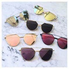 Sale! Cat Eye Aviator Sunglasses. This listing is for a pair of Cat Eye aviator sunshades. Rose Gold Mirrored Sunglasses. Retro. Sunglasses. Wire sunglasses. Tr