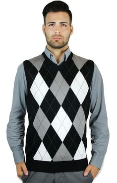 MEN'S ARGYLE SWEATER VEST #BLUEOCEAN #Vest