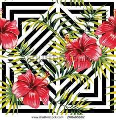 hibiscus and palm leaves painting tropical floral pattern, geometric background