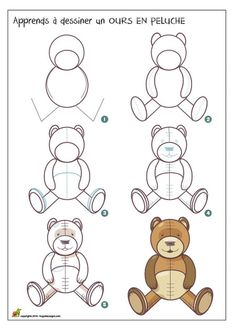 Dessiner un ours en peluche Easy Drawings Sketches, Cartoon Drawings, Art Drawings, Teddy Bear Drawing, Drawing Lessons For Kids, Chalk Art, Learn To Draw, Crafts To Do, Drawing Reference