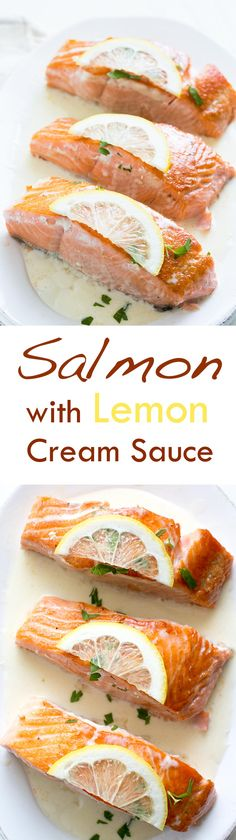 Sautéed salmon fillets served with a simple lemony cream sauce. So easy! Low carb and gluten-free. On SimplyRecipes.com
