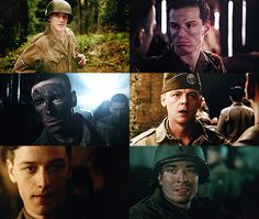 Random Awesome People in Band of Brothers. (l-r) Tom Hardy as Pfc. John Janovec / Andrew Scott as Pvt. John 'Cowboy' Hall / Michael Fassbender as Sgt. Burton 'Pat' Christenson / Simon Pegg as 1st Sgt. William Evans / James McAvoy as Pvt. James W. Miller / Jimmy Fallon as 2nd Lt. George C. Rice  OHMYGOD!!! I FUCKING LOVE BoB AND I DIDN'T KNOW THIS!!! AHHH!! ANDREW SCOTT AND SIMON PEGG!?!!!?