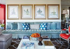 Banquette by Richard Keith Langham covered in Scalamandre's Volterra in the great room of this Dallas apartment designed by Lisa Fine.