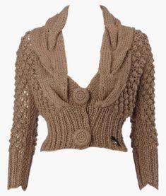 Essa inspiração vai para as amigas que tricotam!   Lindo bolero de mangas longas e bem acinturadinho!