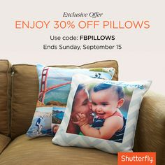 You asked, we listened! Get 30% off photo pillows with code FBPILLOWS. Offer ends Sunday, Sept 15. Offer valid for one-time redemption per billing address.  Taxes, shipping and handling will apply.