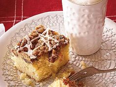 Pep up your mornings or snack time with a warm slice of Overnight Coffee Crumble Cake. A splash of bourbon adds richnes and umph to the powdered sugar glaze that's drizzled over this homemade coffee cake.