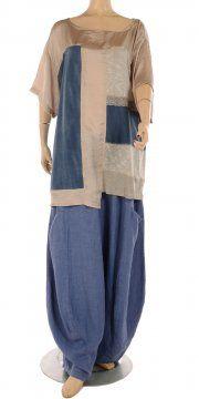Blue  Ecru Mix Fabric Top