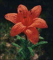 Asian Lily French Beaded Flower by DeesBeadedFlowers on Etsy Asian Lilies, Large Floral Arrangements, Beaded Crafts, Diy Crafts, French Beaded Flowers, Orange Poppy, Flowering Trees, Flower Designs, Flower Ideas