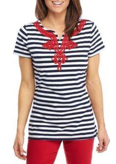 Kim Rogers Women's Short-Sleeve Split Neck Stripe Top - Harbor Navy - Medium