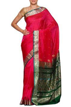 Bright Pink daagina silk peshwai paithani saree