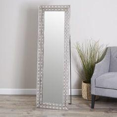 Millwood Pines Kacey Wall Mirror   Wayfair.ca Unique Mirrors, Cool Mirrors, Beautiful Mirrors, Rustic Full Length Mirror, Modern Full Length Mirrors, Vanity Set With Mirror, Silver Floor Mirror, Bedroom Mirrors, Mirror Floor