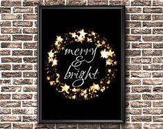 Christmas Printable Decor Merry And Bright Printable Christmas Wall Art, Modern Christmas, Gold Christmas, Christmas Decorations, Holiday Decor, Christmas Printables, Merry And Bright, Printable Wall Art, Canvas Wall Art
