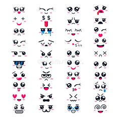 Buy Kawaii Vector Cartoon Emoticons by vectoristik on GraphicRiver. Kawaii vector cartoon emoticon character with different emotions and face expression collection illustration emotiona. Cute Easy Drawings, Cute Kawaii Drawings, Kawaii Art, Kawaii Doodles, Cute Doodles, Flower Doodles, Emoji Drawings, Doodle Art Drawing, Different Emotions