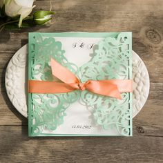 spring mint green and peach laser cut wedding invitations EWWS103 as low as $1.99 |