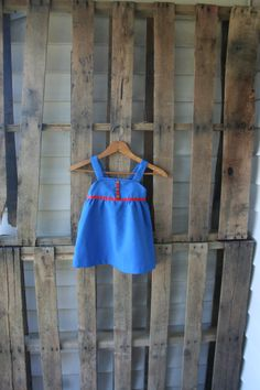 Vintage Blue & Red Tank Dress with Gold Buttons by vintapod