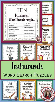 WORLD MUSIC    ♫ This resource contain TEN puzzles each containing 20-30 words.  ♫ An ANSWER key is provided     #musiceducation Music Education Activities, Teaching Activities, Teaching Music, Learning Piano, Teaching Ideas, Learning Tools, Physical Education, Music Lessons For Kids, Piano Lessons