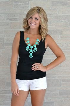 Black tank, white shorts, and a turquoise Bubble Necklace for a casual day look