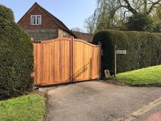 Driveway gates - The Berkshire design crafted using the finest, hand selected iroko. House Main Gates Design, Side Gates, Electric Gates, Driveway Gate, Garden Gates, Wrought Iron, Hardwood, Shed, New Homes