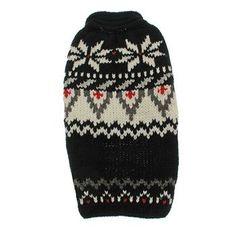 Handmade Aspen Fair Isle Wool Dog Sweater - Black at BaxterBoo