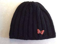 Lady's beanie butterfly beanie winter hat by Yarnhotoffthehook Crochet Gifts, Hand Crochet, Snow Hat, Ski Hats, Red Butterfly, Black Beanie, Winter Hats For Women, Beanie Hats, Online Friends