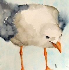 original bird painting bird art seagull animal by bMoorearts