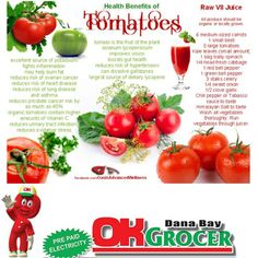 Health Benefits of Tomatoes - pick up your fresh tomatoes at our fruit and veg section at OK Grocer Danabaai Health Benefits Of Tomatoes, V8 Juice, Baby Spinach, Fruit And Veg, Beets, Kale, Health Tips, Organic, Fresh