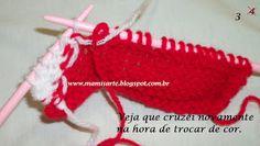 Olá!  Para iniciantes ou menos experientes no tricot, demonstro neste Passo a passo, a forma de cruzar os fios na hora da troca de cores. Mu...