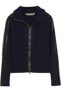 Reed Krakoff|Leather-trimmed cashmere cardigan|NET-A-PORTER.COM