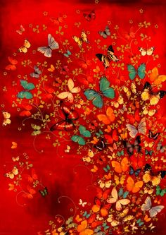 Image of Lily Greenwood Signed Giclée Print - Butterflies on Red (A4/A3/A2)