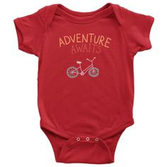 Best seller at Hudson Baby Company - Adventure Awaits Baby Onesie is a modern personalized gift. Baby Onesie, Onesies, Boppy Cover, Kids Bike, Boho Baby, Adventure Awaits, Baby Care, My Children, Baby Boy Outfits