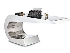 ONDA C - Stainless steel desk in mirror finish by LAMBERTI DECOR  Handcrafted in Italy