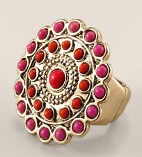 Chico's Colorful beaded medallion Ring