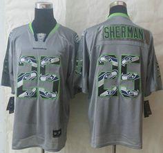 Nike Seattle Seahawks Jersey #25 Richard Sherman Lights Out Grey Ornamented Elite Jerseys