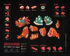 Morceaux de monstres en 8bits 8bit monstres geek morceaux dissection 01 design