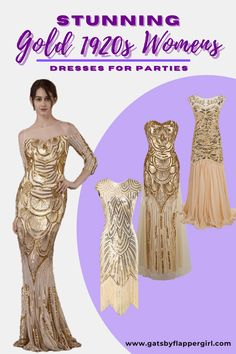 Stunning Gold Ladies Evening Gowns & Dresses perfect for a1920s party or formal Events. You will love all our Roaring 20s & Great Gatsby Style dresses - see them all! Great Gatsby Outfits, Great Gatsby Fashion, Gatsby Dress Plus Size, Gatsby Style, Roaring 20s, Gold Dress, Costume Dress, Evening Gowns, Party Dress