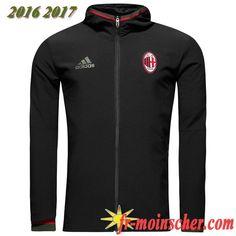 Le Nouveau:Veste de Milan AC Noir 2016/2017 fr-moinscher