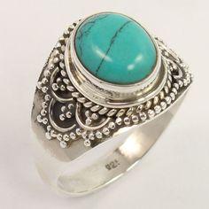 925 Solid Sterling Silver Vintage Design Ring Size US 7.5 TURQUOISE (S) Gemstone #Unbranded