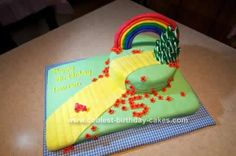 """Homemade Wizard of Oz/Yellow Brick Road Cake: Our daughter wanted a """"Wizard of Oz"""" party for her 4th birthday.  Dorothy is one of my all time favorite characters, so I was happy to oblige!  Creating"""